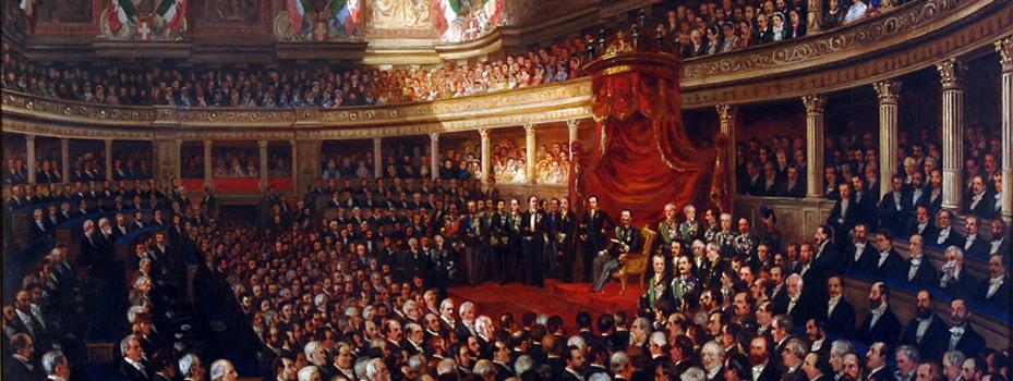 Nell'immagine di copertina, la prima riunione del Parlamento italiano a Torino nel 1861